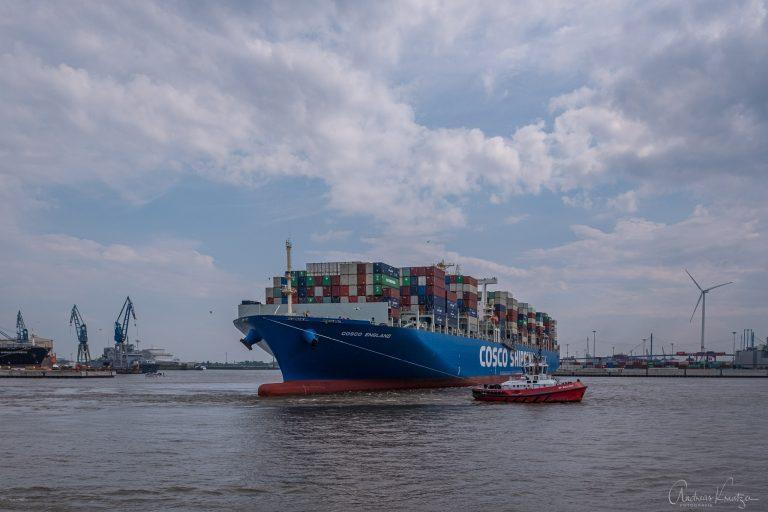 Containerschiff beim Tollerort Terminal