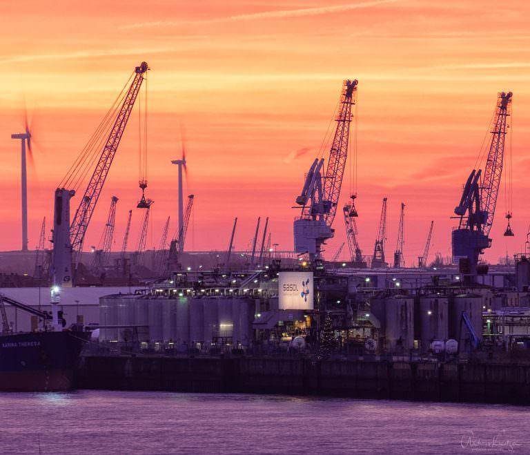 Kraene im Hamburger Hafen