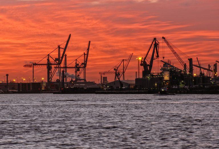 Morgens am Hamburgher Hafen