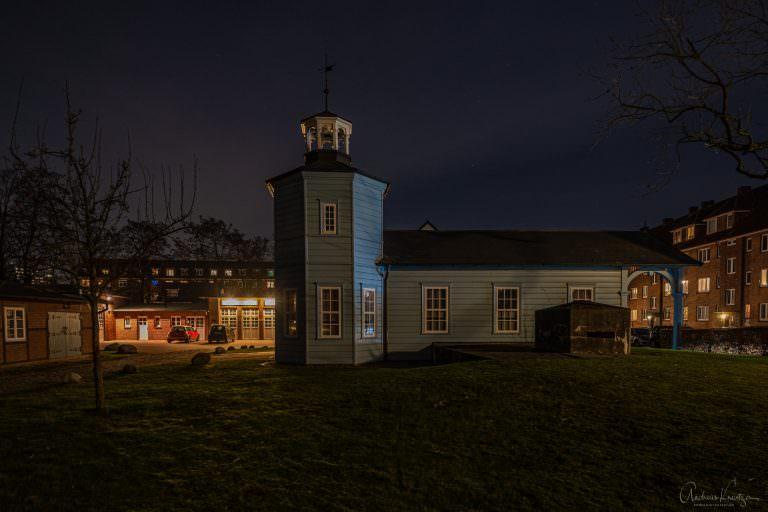 Alter Bahnhof in Bergedorf bei Nacht